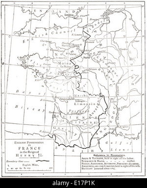 Map showing English possessions in France during the reign of Henry II, 1189. - Stock Photo
