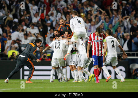 Player of Real celebrating the goal of Marcelo (Real Madrid CF #12) with Gabi (Atletico Madrid #14) upset during - Stock Photo