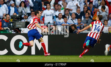 Diego Godin (Atletico Madrid #2) celebrating his goal 1:0 with Gabi during the final of the Champions league between - Stock Photo