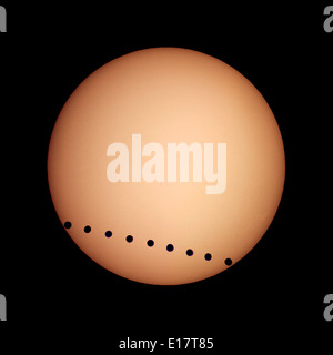 Transit of Venus, June 8, 2004, from Luxor, Egypt. A composite image (layered in Photoshop) of individual multiple - Stock Photo