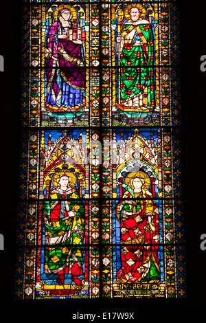 Stained glass windows in the Basilica di Santa Maria del Fiore or Florence cathedral. - Stock Photo
