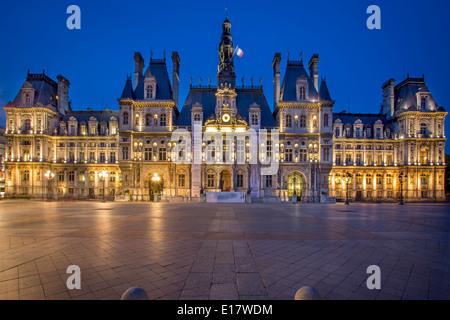 Twilight at Hotel de Ville, Paris France - Stock Photo