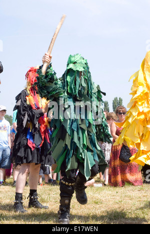 Tewkesbury Medieval Festival, Gloucester UK July 2013: Bedlam morris dancers in rag robes entertain crowd - Stock Photo
