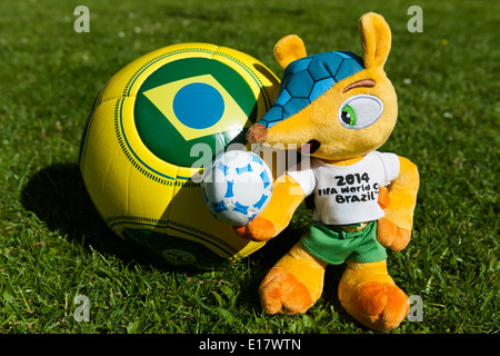 'Fuleco the Armadillo' Mascot and football for Brazil World Cup 2014. - Stock Photo