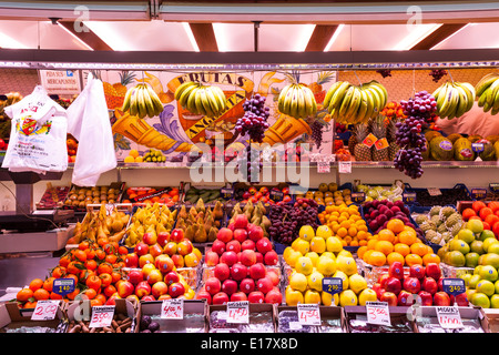 Fruit on sale in the covered Mercado Central or Central Market in Valencia. - Stock Photo
