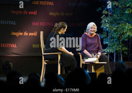 Lynn Barber journalist celebrity interviewer speaking about her life and work at Hay Festival 2014 ©Jeff Morgan - Stock Photo