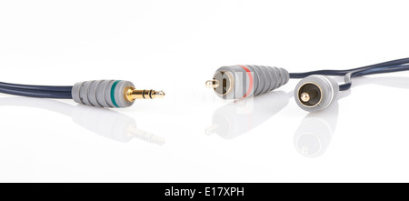 Jack and mini-jack plug sound or tv glossy wire isolated on white background - Stock Photo