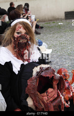 Prague, Czech Republic. 24th May, 2014. Woman dressed up in a black and white dress to participate in the Zombie - Stock Photo