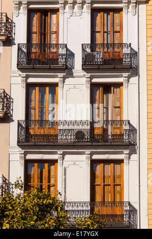 Building facades in Plaza de la Reina, Valencia. - Stock Photo
