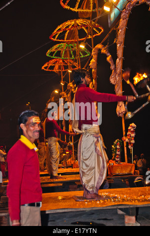 Ganga River,The Ganges,Ghats,Evening Aarti Salutations to the river,oil lamps, bells,chants,Varanasi,Benares,Uttar - Stock Photo