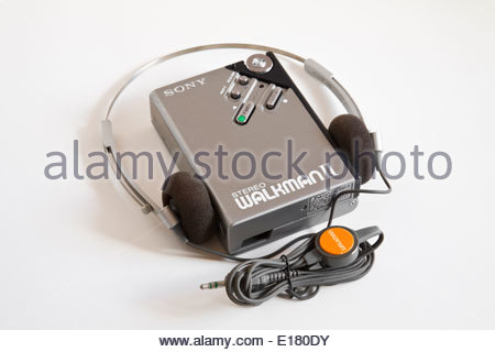 Sony Walkman II cassette player with headphones old tech - Stock Photo