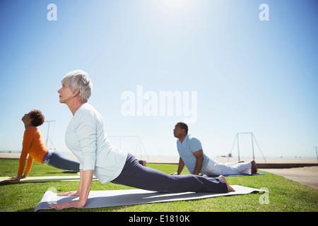 Seniors practicing yoga in sunny beach park - Stock Photo