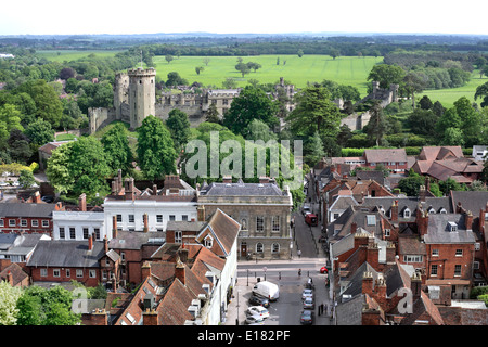 View of part of Warwick town centre, with Church Street in the foreground and Warwick Castle beyond. - Stock Photo
