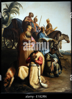 Baptism of the eunuch by Rembrandt  (1606-1669), 1626. The apostle Philip baptizes an eunuch from Ethiopia. - Stock Photo