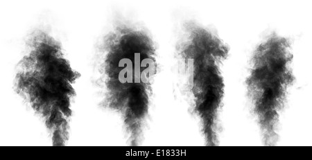 Set of black steam looking like smoke isolated on white background. Collection of clouds of black smoke. - Stock Photo