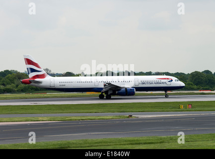 British Airways Airbus A321-231 Airliner G-EUXC Taxiing for Departure at Manchester International Airport England - Stock Photo