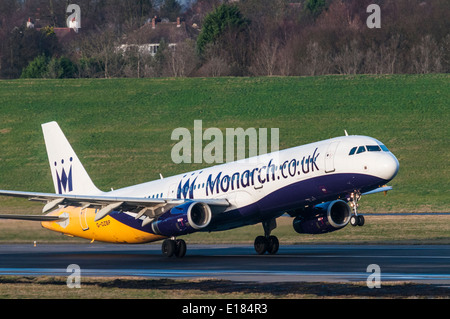 Airbus A321 of Monarch Airlines taking off from Birmingham International Airport - Stock Photo
