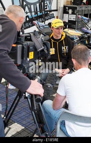 Douglas, Isle of Man. 26th May, 2014. Belgian rider Laurent Hoffmann (centre) is making his Isle of Man TT debut - Stock Photo