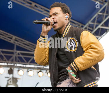 Shakopee, Minnesota, USA. 25th May, 2014. CHANCE THE RAPPER performs at 2014 Soundset music festival in Shakopee, - Stock Photo