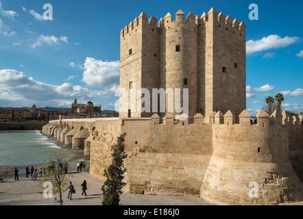 The Torre de la Calahorra with the Guadalquivir river, Roman bridge and La Mezquita in the background. Cordoba, - Stock Photo