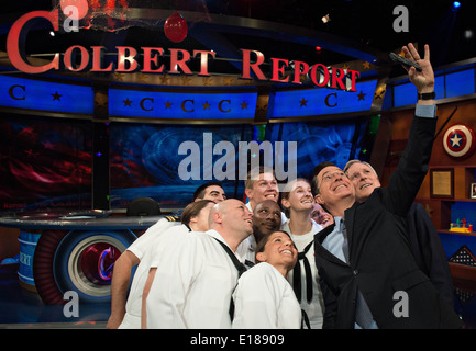 Comedian Stephen Colbert takes a selfie with Secretary of the Navy Ray Mabus and Sailors during Fleet Week 2014 - Stock Photo