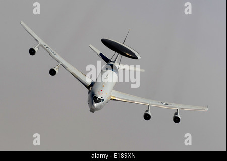 A US Air Force E-3 Sentry, also known as airborne warning and control system or AWACS, during a mission May 21, - Stock Photo