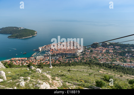 Looking down onto the Old town, Dubrovnik, from the top of the cable car - Stock Photo