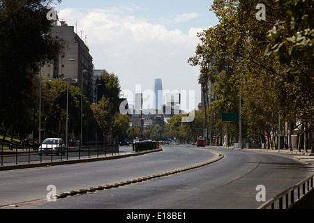 avenida libertador general bernado o'higgins downtown Santiago Chile looking towards providencia and grand torre - Stock Photo
