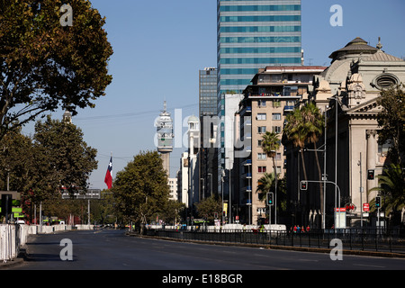 avenida libertador general bernado o'higgins downtown Santiago Chile - Stock Photo