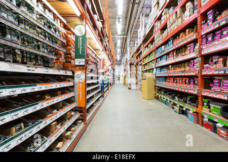Aisle in a Home Depot hardware store. - Stock Photo