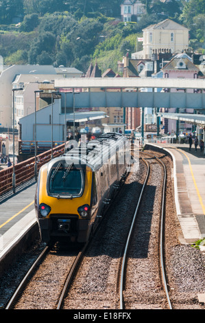 Crosscountry Voyager train stopped in the platform at Dawlish railway station - Stock Photo