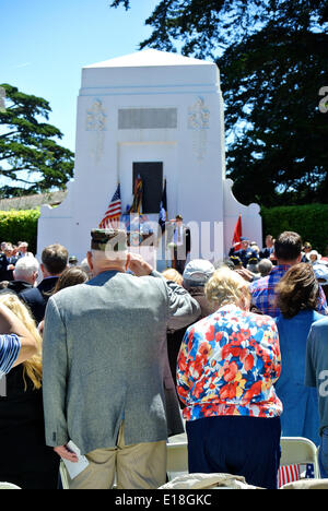 San Francisco, May 26th, 2014. Veterans and mourners attend the 146th Memorial day ceremony at the Presidio of San - Stock Photo