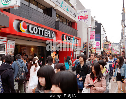 Lotteria fast-food chain restaurant on busy shopping street Takeshita in Tokyo, Japan - Stock Photo