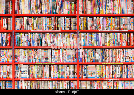 Manga Comics Books On Book Shelves At A Japanese Store