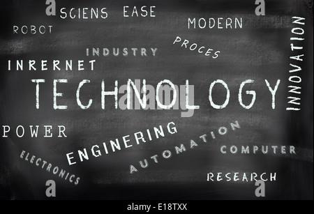 Technology word cloud written on a chalkboard - Stock Photo