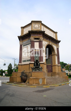 Turin, Italy : Parco del Valentino ( Valentino Park), Arc de Triomphe monumental dedicated to the weapon Artillery. - Stock Photo