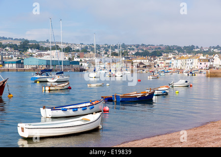 Boats on Teign river Teignmouth Devon tourist town with blue sky a colourful traditional English coastal scene - Stock Photo