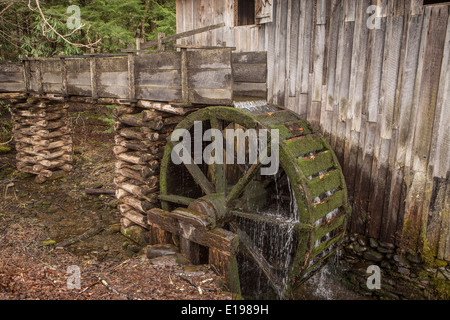 John Cable Grist Mill is pictured in Cades Cove area of the Great Smoky Mountains National Park in Tennessee - Stock Photo