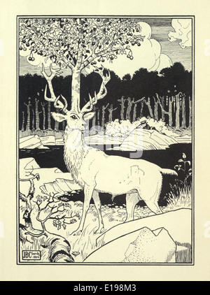 J. B. Clark illustration from 'The Surprising Adventures of Baron Munchausen' by Rudoph Raspe published in 1895. Stag
