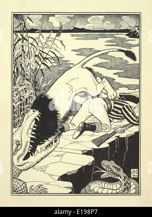 J. B. Clark illustration from 'The Surprising Adventures of Baron Munchausen' by Rudoph Raspe published in 1895. Lion & Croc