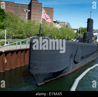 USS Croaker submarine in Lake Erie, Buffalo And Erie County Naval & Military Park, Buffalo, New York City, New York - Stock Photo