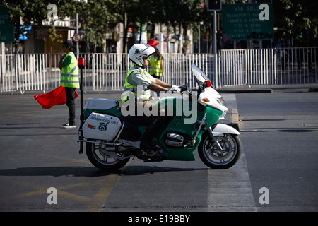 motorcycle carabineros de chile national police officer on bmw motorbike Santiago Chile - Stock Photo