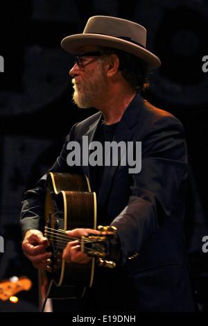 Italian singer and songwriter Francesco De Gregori performing in 2011 concert - Stock Photo