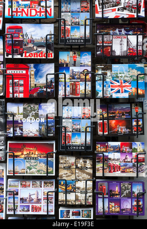 Tourist postcards of iconic London landmarks, England, UK - Stock Photo