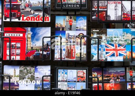 Tourist postcards of iconic London landmarks, England, UK - Stock Photo