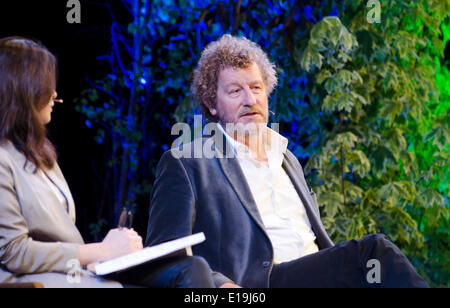 Sebastian Faulks at Hay on Wye Festival 27th May 2014 talks about bestseller Birdsong Wales Uk - Stock Photo