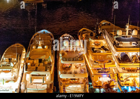 Europe, France, Corse-du-Sud (2A), Bonifacio. Cruise ship in a marina at night. - Stock Photo
