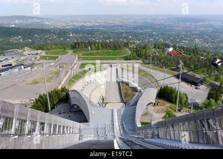 View from ski jumps tower, Holmenkollen, Oslo, Norway - Stock Photo