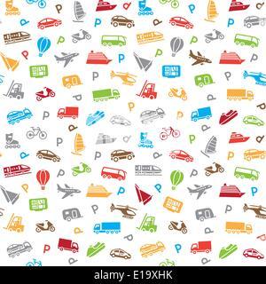 Seamless transports pattern, wallpaper - Stock Photo