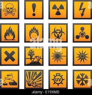 European hazard symbols - Stock Photo